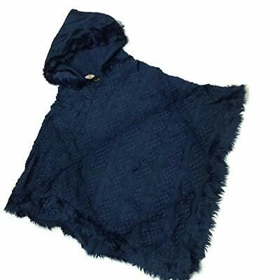 The Good Bead Coco & Carmen Fur Trimmed Hooded Pull Over Knit Poncho - Navy Blue