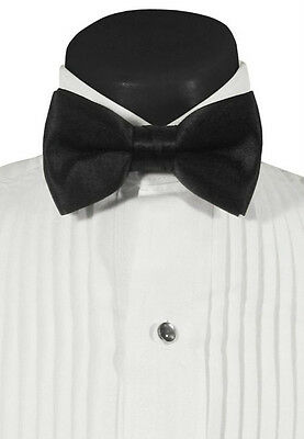 NEW Black Satin Bowtie Formal Tuxedo Tux Adjustable Pretied Bow Tie MADE IN USA