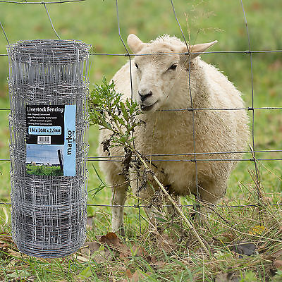 50M x 0.85M Stock Fencing Sheep Pig Fence Net Galvanised Wire Livestock Netting