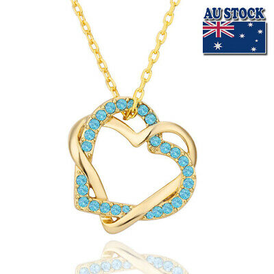 New 18K Gold Filled Women's Heart Pendant Necklace With Swarovski Crystal Gift