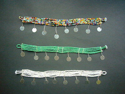 African Masai Bead ankle bracelet anklet jewellery gold white multi - beachwear