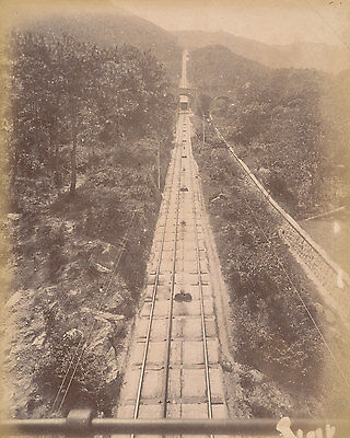 Original Photo Mountain Tramway Hong Kong China C1880