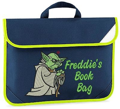 Personalised Embroidered Kids book bag for school - Star Wars Yoda design & Name