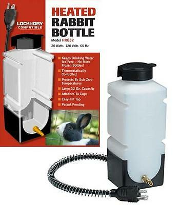 "32 Ounce ""heated"" Flip-Top Fill Gravity Rabbit Waterer Drinker Bottle With Mount"