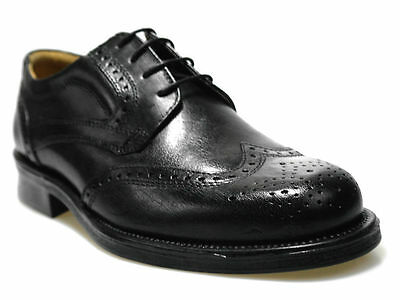 Mens New Oaktrak Real Leather Smart Oxford Lace Up Brogue Formal Black Shoes