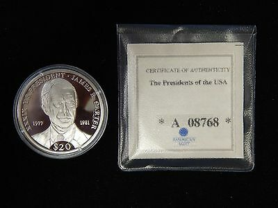2000 Liberia $20 Presidents of the US Silver Proof - James Carter