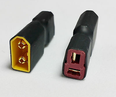 Male XT60 to Female Deans T Connector (RC Adaptor/Converter) 1 /2 Qty MultiPack