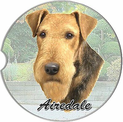 Airedale Terrier Car Coaster Absorbent Keep Cup Holder Dry New Stoneware