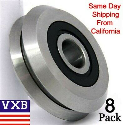 8-PACK RM2-2RS 3/8'' V Groove Rubber Sealed Line Track Roller vgroove Bearing