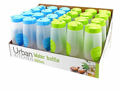 12 x Sports Water Bottles w/dispenser 600ml blue or green only