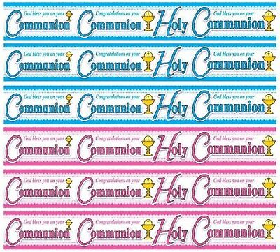First 1st Holy Communion Boy Girl Foil Banners Bunting Personalised Pink Blue