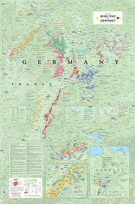Wine Map Of Germany Poster Print, 24x36
