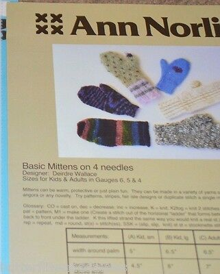 7a200551c ANN NORLING KNITTING Pattern Basic 2 Needle Mittens -  2.00