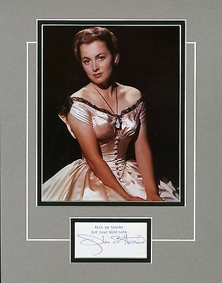 OLIVIA DEHAVILLAND - Signed, Matted & Framed display with colour photo
