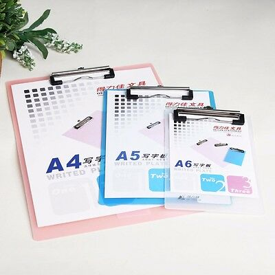 A6/A5/A4 Plastic Clipboard Metal Clip Thick Paper Writing Plate Note Pad #UK