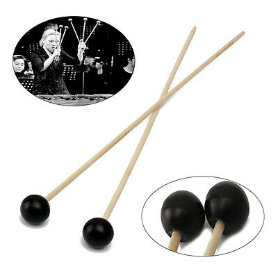 1 Pair Black Soft Mallets Rubber Head Warm Sound For Bells Xylophone Marimba