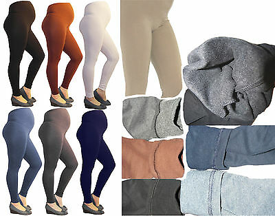 Umstand-Leggings Thermo Umstandsleggings hose lang Baumwolle Fleece innen