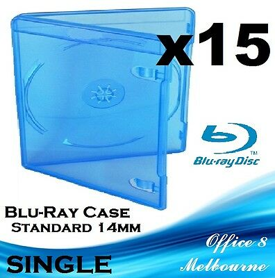 BRAND NEW Premium Quality 15 x Single Blu-Ray Case Cover 14mm BD-R Blu Ray