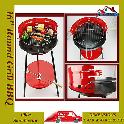 """NEW 16""""Portable Round Barbecue BBQ Charcoal Outdoor Cooking Grill Camping Travel"""