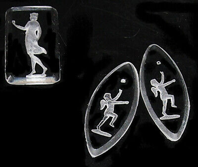 engraved Glass Stones Roman Greek Etruscan Angel Cupid 27MM vintage etched 2 pc