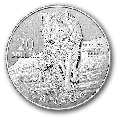 2013  1/4oz RCM 9999 Silver Coin The Wolf. Include COA and capsule.