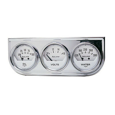Auto Meter 2325 Auto Gage Console Oil/Water/Volt Chrome Bezel White Gauges