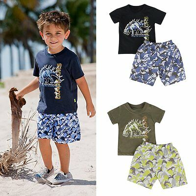Toddler Kids Baby Boys Cartoon Outfit T-shirt Tops+Shorts Pants 2pcs Clothes Set