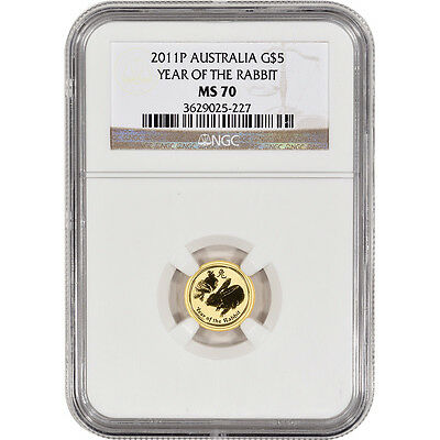 1/20 oz Pure Gold Coin - 2011P Australia G$5 Year Of The Rabbit MS-70