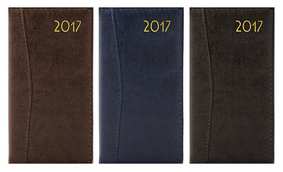 2017 Diary WEEK TO VIEW SLIM LONG Size D-Range Leatherette Embossed & Stitched
