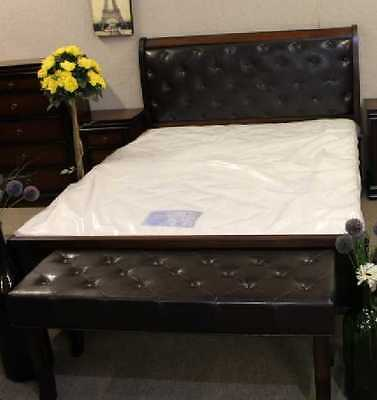 Mahogany King Size Sleigh Bed with buttoned Headboard NO Mattress. NEW.Last One