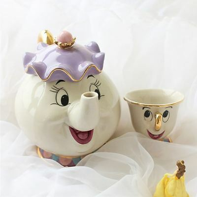 Set Teapot Mrs. Potts And Chip The Beauty And The Beast Teiera With Coffe Cup #2