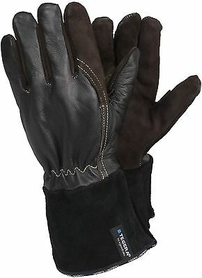 TEGERA 132A Black / Brown Leather Kevlar Lined MIG TIG Welding Gloves Cut proof