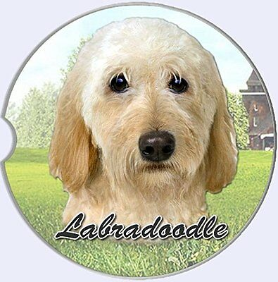 Labradoodle Car Coaster Absorbent Keep Cup Holder Dry Stoneware New Dogs Cream