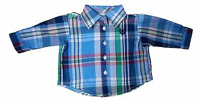 Chaps Baby Size New Born Blue Multi Color Plaid Long Sleeve Shirt NEW $38