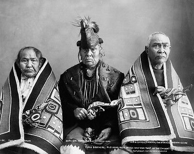 New 11x14 Native American Photo: Three brothers, Kak-Von-Tons of Chilkat Tribe