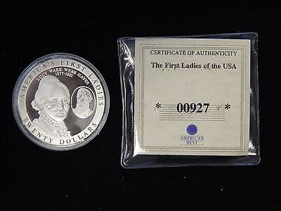 2003 Liberia $20 First Ladies of the US Silver Proof - Lucy Hayes