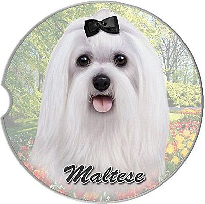 Maltese Dog Car Coaster Absorbent Keep Cup Holder Dry Stoneware New Pets