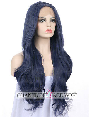 Women's Front Lace Wigs Blue Synthetic Hair Long Natural Wavy Heat Resistant UK