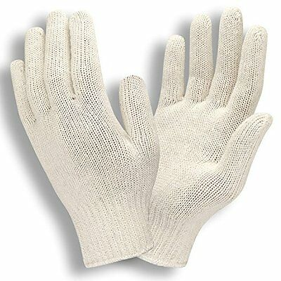 12 Pair 1 Dozen Natural White String Knit Poly Cotton Work Gloves Large L New