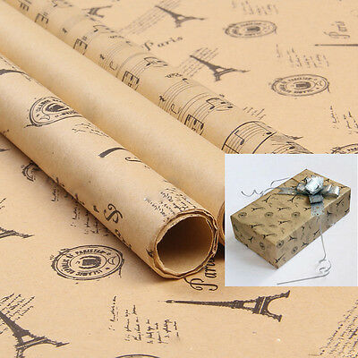 5 Sheet Holiday Wrapping Paper Rolls Gift Wrapping Paper Eiffel Tower Gold Kraft