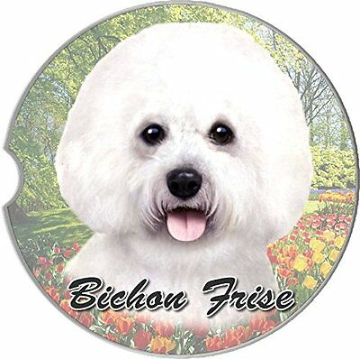 Bichon Frise Car Coaster Absorbent Keep Cup Holder Dry Stoneware New Dog White