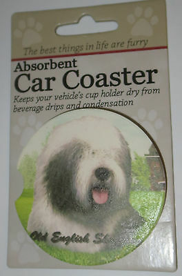 Old English Sheepdog Car Coaster Absorbent Keep Cup Holder Dry Stoneware New Dog