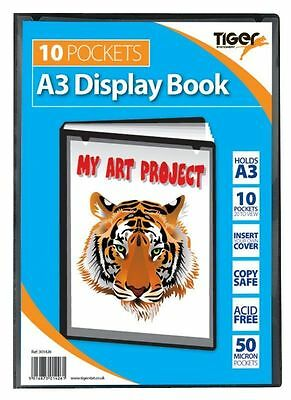 Tiger A3 Display Book 10 Pocket School Artwork Storage Presentation Folio Folder