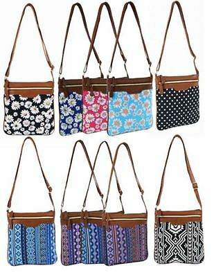 New Womens Holiday Canvas Aztec Floral Festival Travel Cross Body Messenger Bag