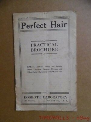 1912 PERFECT HAIR Koskott Laboratory Baldness Hair Loss Brochure Quack Antique