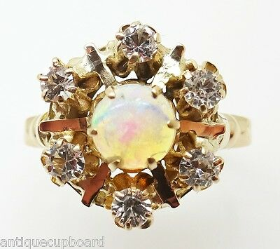 Victorian Yellow Gold Genuine Natural Opal Ring with Crystals (#J432)