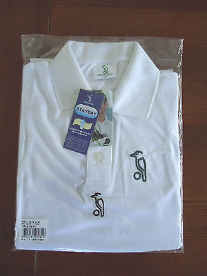 Cricket Shirt Youth Junior Sz 12 - 14 White Short Sleeve Stay Dry Kookaburra New