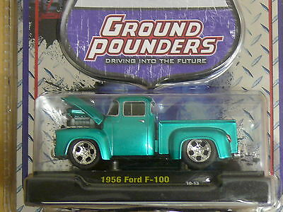 1956  Ford f-100 Ground Pounder Green  1:64 Scale M2 Diecast