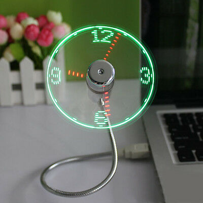USB Mini Flexible Time Clock Fan with LED Light Desk Office Gadget Adjustable