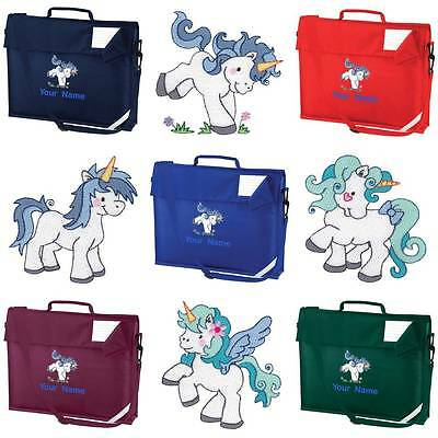 PERSONALISED EMBROIDERED BOOK BAG & STRAP WITH UNICORN DESIGN & NAME SCHOOL uni